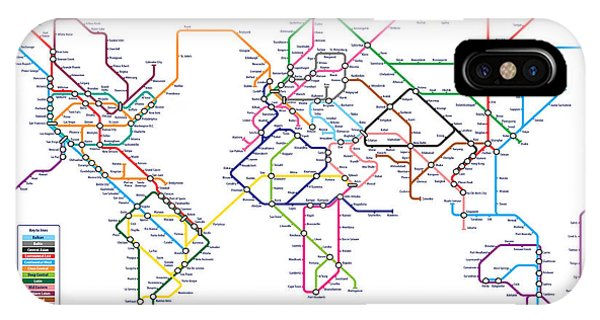 Global iPhone Case - World Metro Tube Subway Map by Michael Tompsett