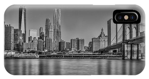World Trade Center And The Brooklyn Bridge Bw IPhone Case