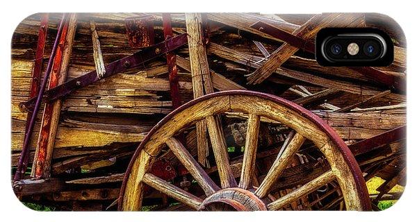 Wagon Wheel iPhone Case - Worn Western Wagon by Garry Gay