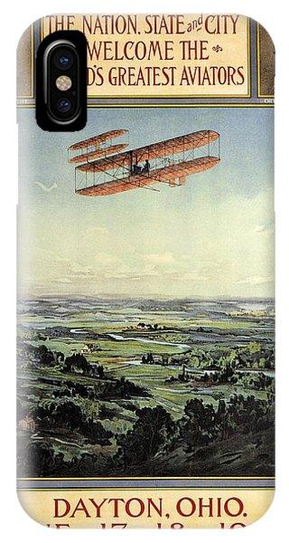 Wright Brothers - World's Greatest Aviators - Dayton, Ohio - Retro Travel Poster - Vintage Poster IPhone Case