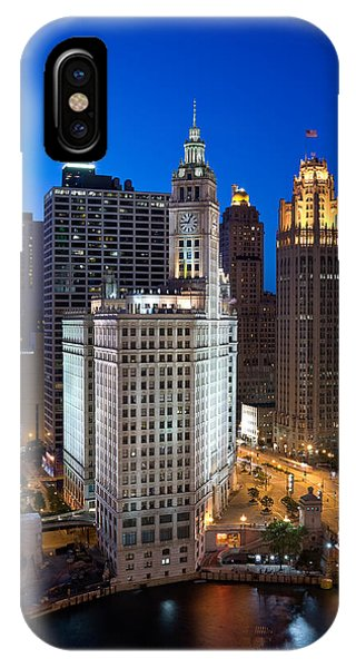 Chicago River iPhone Case - Wrigley Building Night by Steve Gadomski