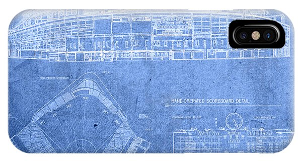 Wrigley Field Chicago Illinois Baseball Stadium Blueprints IPhone Case