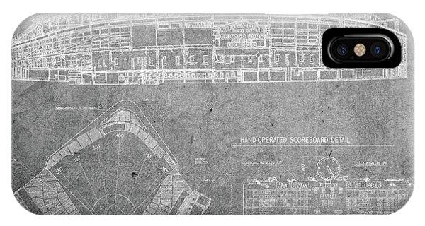Wrigley Field Chicago Illinois Baseball Stadium Blueprints Gray IPhone Case