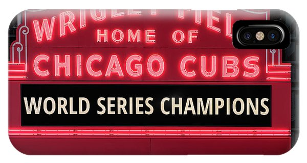 Wrigley Field iPhone Case - Wrigley Field Marquee Cubs World Series Champs 2016 Front by Steve Gadomski