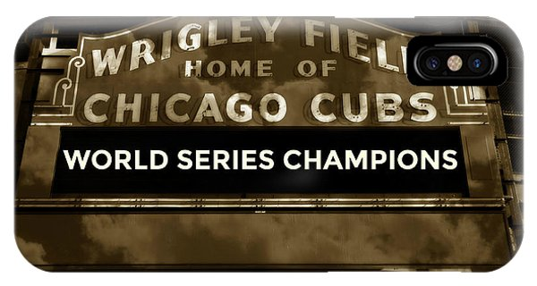 Wrigley Field iPhone Case - Wrigley Field Sign - Vintage by Stephen Stookey