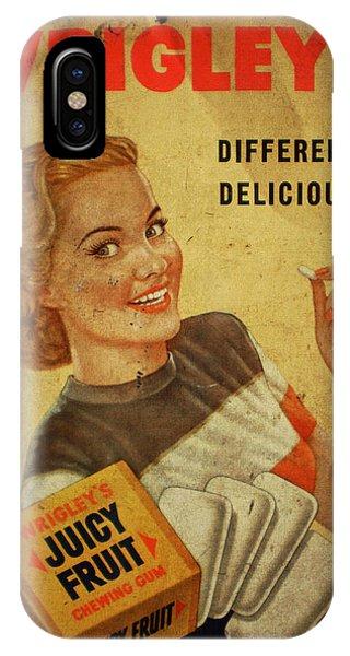 Wrigleys Juicy Fruit Chewing Gum Vintage Ad Poster IPhone Case
