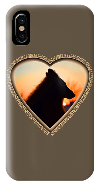 Wuffstar Happiness Is A Long Haired German Shepherd Heart IPhone Case