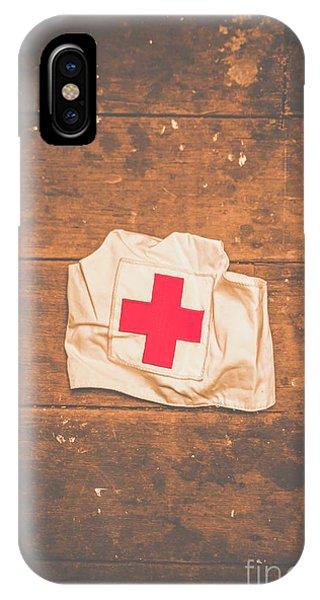 Ww2 Nurse Cap Lying On Wooden Floor IPhone Case