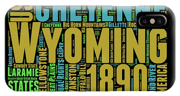 Wyoming Word Cloud Map 1 IPhone Case