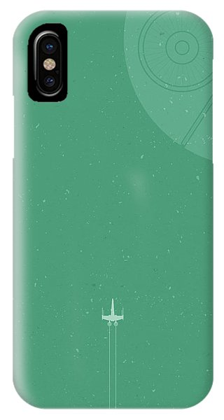 Wings iPhone Case - X-wing Meets Death Star by Samuel Whitton