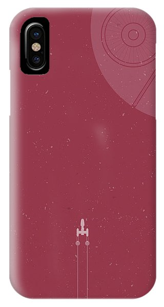 Wings iPhone Case - Y-wing Bomber Meets Death Star by Samuel Whitton