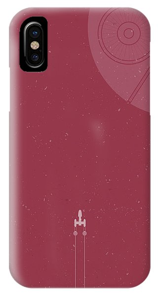 Space Ships iPhone Case - Y-wing Bomber Meets Death Star by Samuel Whitton