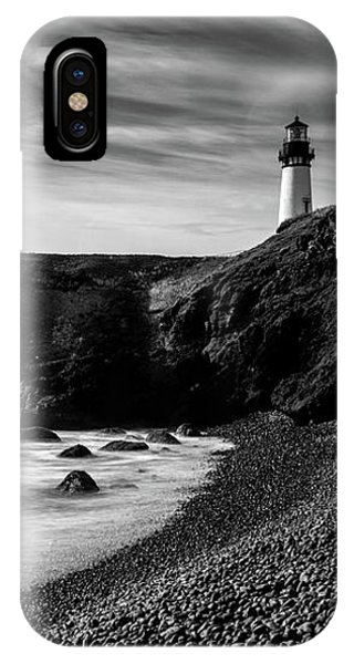 Yaquina Head Lighthouse 1 Black And White IPhone Case