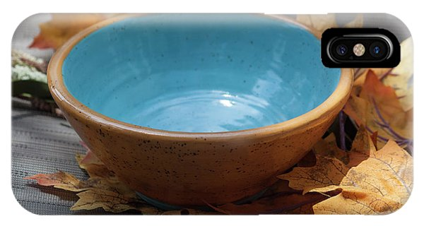 Hand Thrown Pottery iPhone Case - Yellow And Blue Bowl by Suzanne Gaff