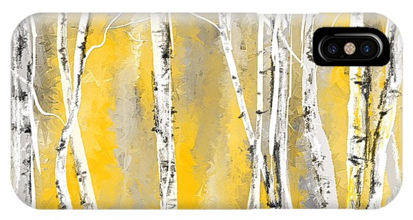 Yellow And Gray Birch Trees IPhone Case