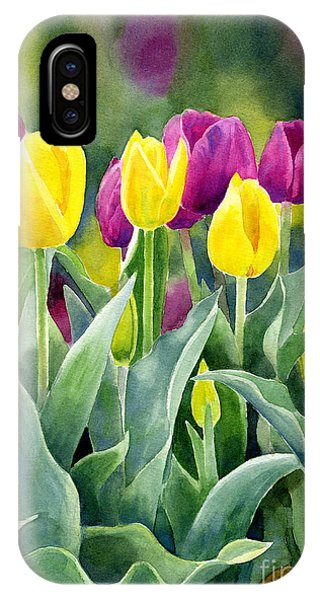 Violet iPhone Case - Yellow And Red Violet Tulips With Background Vertical Design by Sharon Freeman
