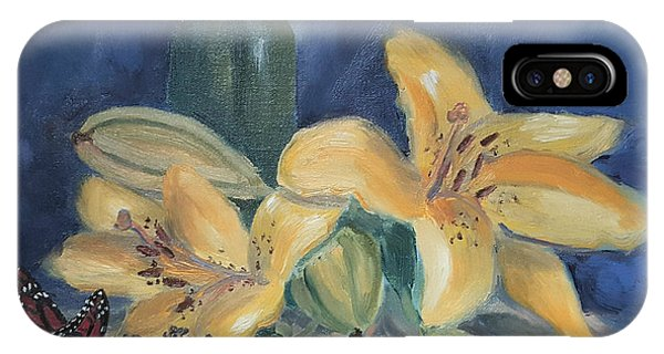 Yellow Aziatic Lily With Monarch IPhone Case