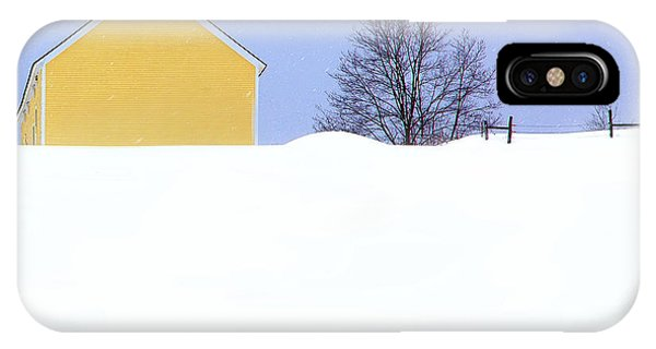New England Barn iPhone Case - Yellow Barn In Snow by John Vose
