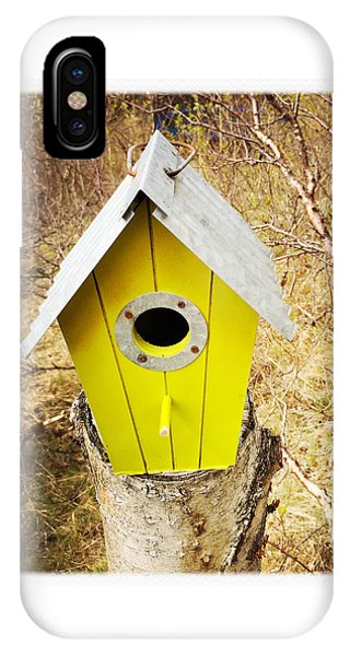 House iPhone Case - Yellow Bird House by Matthias Hauser
