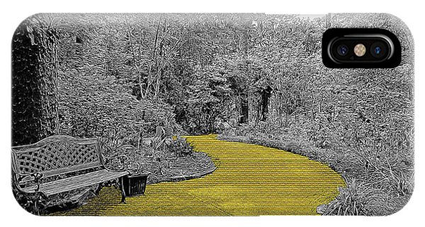 Park Bench iPhone Case - Yellow Brick Gardens Walkway by Marian Bell
