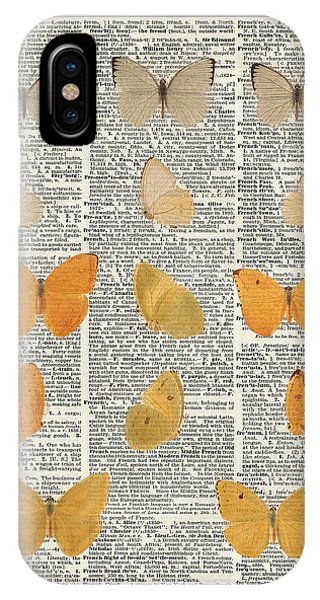 Yellow Butterflies Over Dictionary Book Page IPhone Case