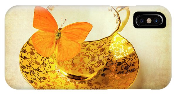 Saucer iPhone Case - Yellow Butterfly On Yellow Tea Cup by Garry Gay