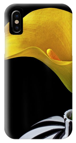Floral iPhone Case - Yellow Calla Lily In Black And White Vase by Garry Gay