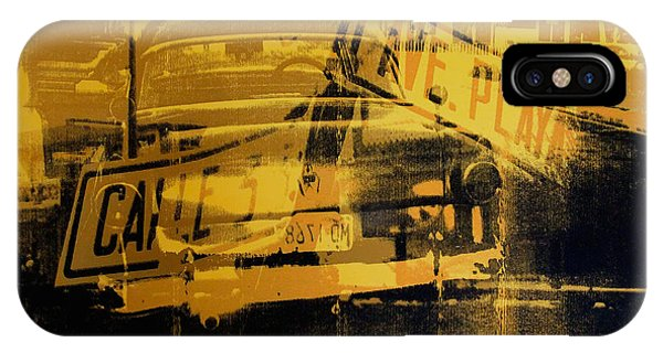 Street Sign iPhone Case - Yellow Car And Street Sign by David Studwell