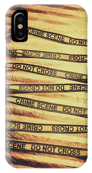 Danger iPhone Case - Yellow Crime Scene Ribbon On Metal Background by Jorgo Photography - Wall Art Gallery