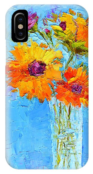 Yellow Daisies Flowers - Peonies In A Vase - Modern Impressionist Knife Palette Oil Painting IPhone Case