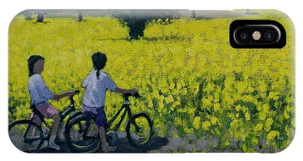 Bike iPhone Case - Yellow Field by Andrew Macara