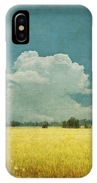 Retro iPhone Case - Yellow Field On Old Grunge Paper by Setsiri Silapasuwanchai
