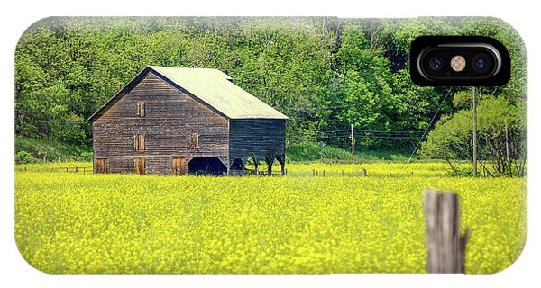 Yellow Field Rustic Shed IPhone Case