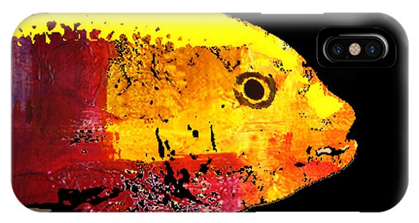 Reef iPhone Case - Yellow Fish Abstract by Nancy Merkle