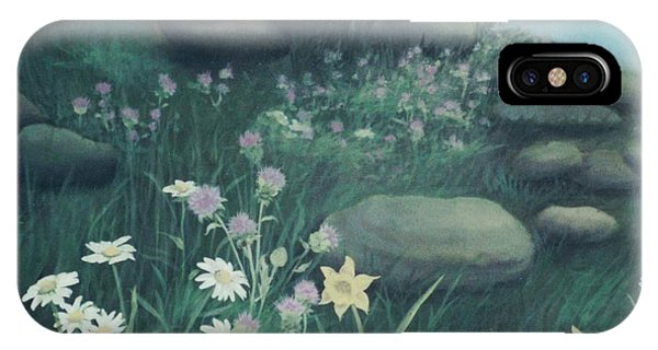 Yellow Flowers In Bed Of Rocks IPhone Case