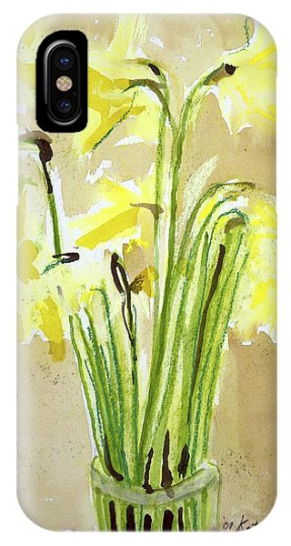 Yellow Flowers In Vase IPhone Case