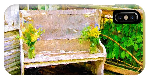 Yellow Flowers On Porch Bench IPhone Case