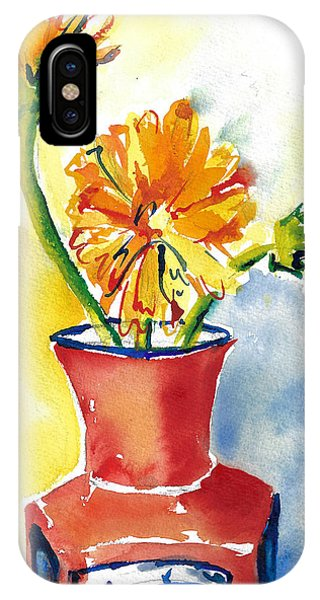 Yellow Gerbera Daisies In A Red And Blue Delft Vase IPhone Case