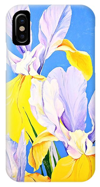 IPhone Case featuring the painting Yellow Irises-posthumously Presented Paintings Of Sachi Spohn  by Cliff Spohn