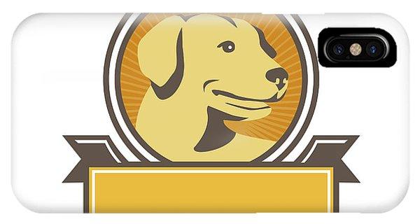 Yellow Labrador Golden Retriever Head Circle Retro IPhone Case