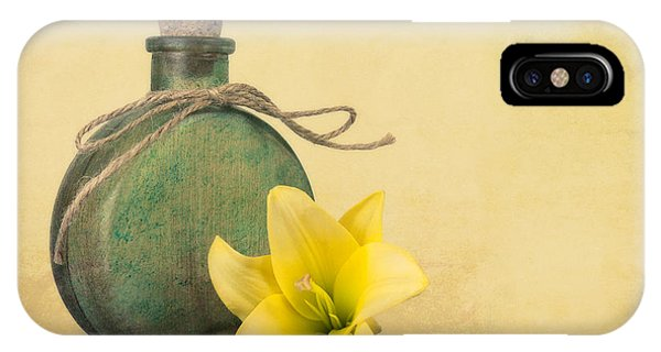 Blossom iPhone Case - Yellow Lily And Green Bottle II by Tom Mc Nemar