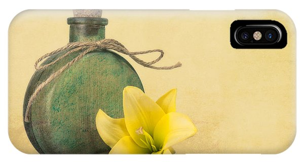 Tan iPhone Case - Yellow Lily And Green Bottle II by Tom Mc Nemar