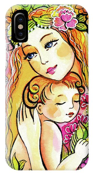 IPhone Case featuring the painting Yellow Madonna With Child by Eva Campbell