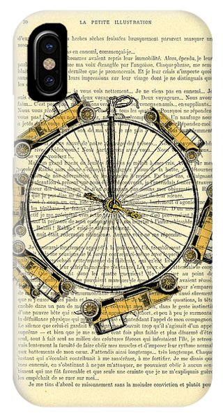 Oldtimer iPhone Case - Yellow Oldtimers On A Bicycle Wheel Antique Illustration On Book Page by Madame Memento