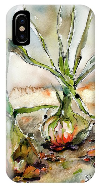 IPhone Case featuring the painting Yellow Onions Food Art  by Ginette Callaway
