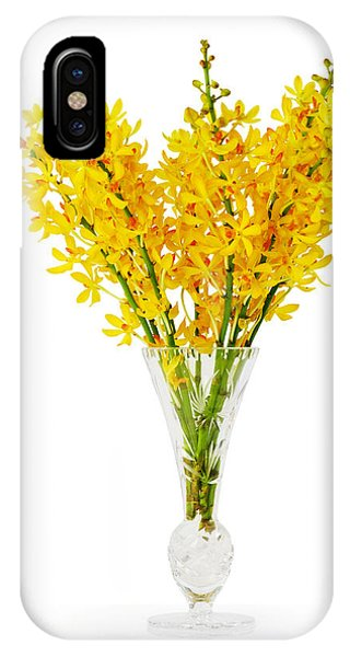 Yellow Orchid In Crystal Vase IPhone Case