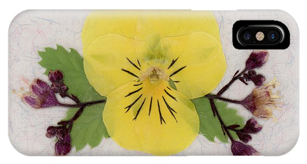 Yellow Pansy And Coral Bells Pressed Flowers IPhone Case