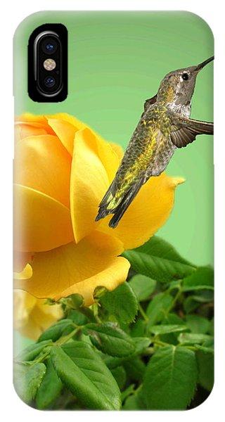 Yellow Rose And Hummingbird 2 IPhone Case