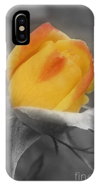 Yellow Rosebud Partial Color IPhone Case