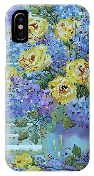 Yellow Roses And Lilacs IPhone Case